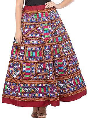 Ghagra Skirt from Gujarat with Ari Embroidered Multicolor Patches and Mirrors