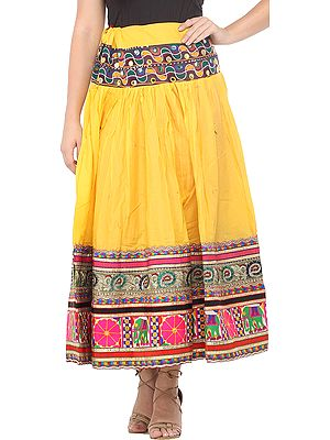 Spectram-Yellow Ghagra Skirt from Gujarat with Embroidered Florals and Elephants Patch Border