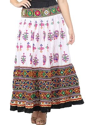 White and Black Ghagra Skirt from Kutch with Multicolor Thread Embroidered Florals  and Mirrors