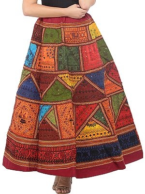 Deep-Claret Ghagra Skirt from Gujarat with Ari Embroidered Kutch Patches and Mirrors
