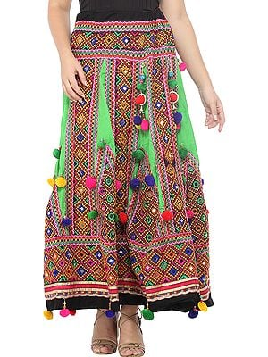 Classic-Green Ghagra Skirt from Gujarat with Embroidered Kutch Patches and Hanging Pompoms