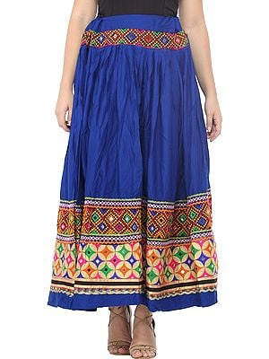 Turkish-Sea Ghagra Skirt from Kutch with Embroidered Patch Border and Mirrors