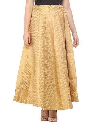 Sand-Brown Long Skirt with Zari Woven Golden Bootis All-Over