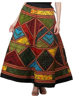 Phantom-Black Ghagra Skirt from Gujarat with Ari Embroidered Kutch Patches and Mirrors