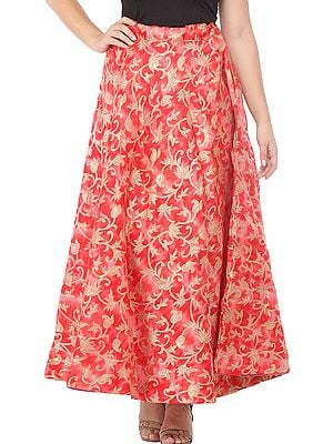 Tomato-Red Kora-Cotton Tie-Dye Long Skirt from Gujarat with Printed Golden Florals