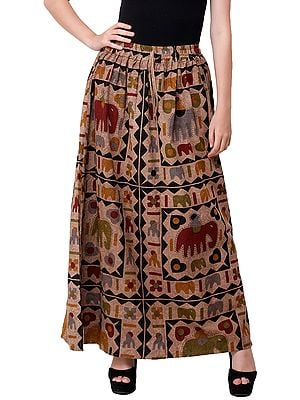 Stone-Washed Long Elastic Skirt with Printed Elephants