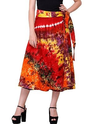 Multicolored Wrap-Around Tie-Dye Batik Midi Skirt