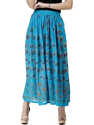 Long Skirt with Printed Peacock Feathers