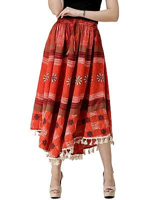 Printed Fish-Cut  Skirt with Tassels on Border