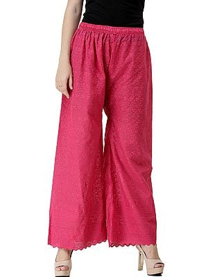 Palazzo Trousers with Crochet Embroidery
