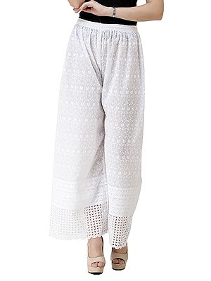 Bright White Crochet Embroidered Palazzo Trousers with Cut Work on Border
