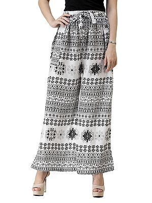 Black and White Palazzo Trousers with Printed Flowers and Side Pockets