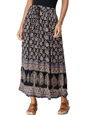 Caviar-Black Elastic Long Skirt with Printed Florals and Trees