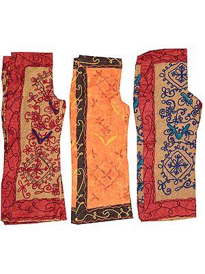 Lot of Three Embroidered Gujarati Capri-Trousers