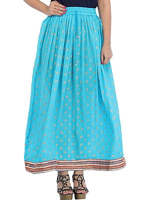 Long Skirt with Printed  Golden Bootis and Patch Border