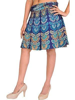 Sanganeri Wrap-Around Mini-Skirt with Printed Motifs
