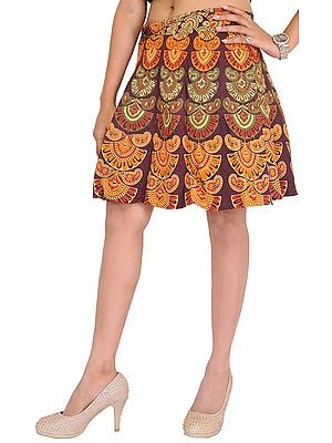 Sanganeri Wrap-Around Mini-Skirt with Printed Motifs