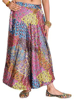 Satin Wrap-Around Midi Skirt with Printed Flowers