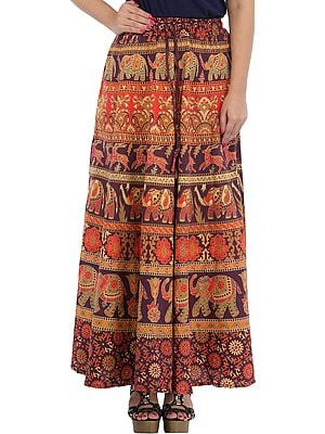 Long Skirt from Pilkhuwa with Printed Elephants and Deers