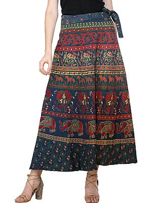 Design-Blue Wrap-Around Long Floral Skirt with Printed Elephants, Camels and Horses