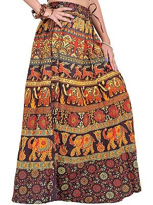 Long Sanganeri Printed Skirt with Elephants and Deers