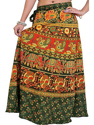 Wrap-On Long Skirt from Pilkhuwa with Printed Paisleys and Elephants