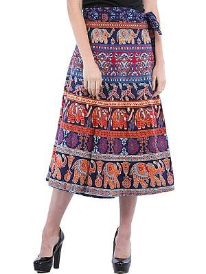 Wrap-Around Sanganeri Skirt with Printed Elephants and Deers