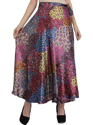 Wrap-Around Long Skirt with Printed Flowers