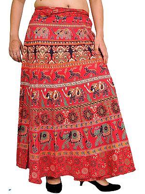 Wrap-Around Long Skirt with Printed Elephants and Deer