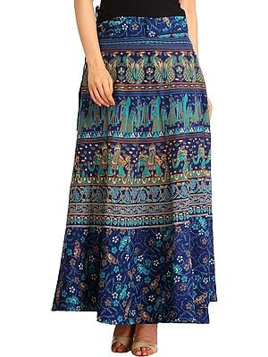 Wrap-Around Long Skirt with Printed Wedding Scenes