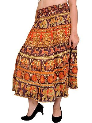 Stone-Brown Sanganeri Midi Skirt with Printed Elephants and Deers