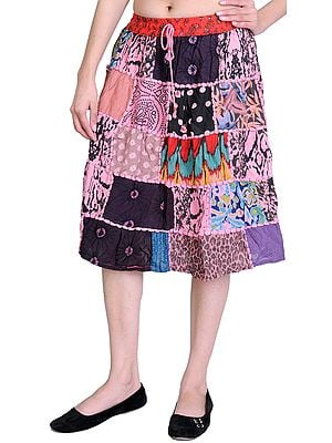 Midi-Skirt from Gujarat with Patch Work and Dori