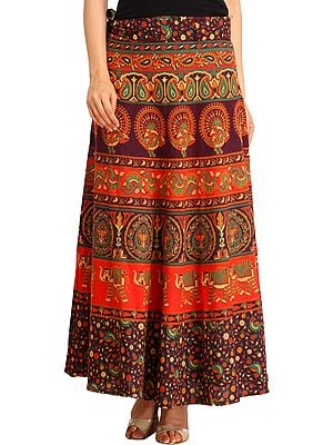 Sanganeri Wrap-Around Long Skirt with Printed Peacocks and Elephants