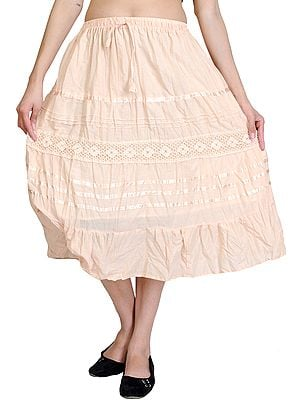 Plain Midi-Skirt with Lace and Frill Border