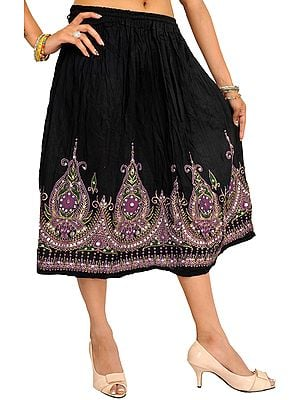 Midi-Skirt with Printed Flowers Embellished with Sequins