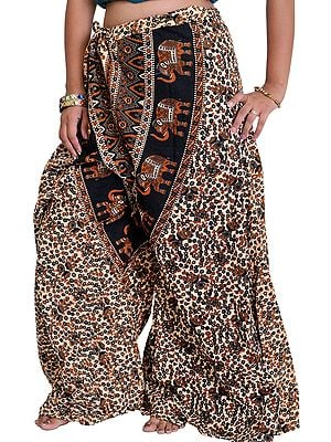Casual Palazzo Pants from Pilkhuwa with Printed Flowers and Elephants