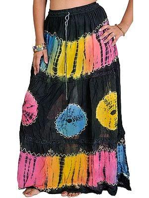 Jet Black Batik Skirt with Threadwork