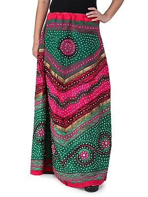 Long Ghagra Skirt from Jaipur with Ari Embroidery and Sequins