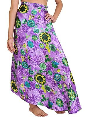 Dahlia-Purple Wrap-Around Skirt with Printed Flowers