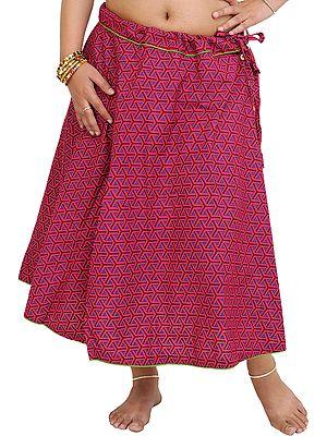 Drawstring Printed Midi Skirt with Piping