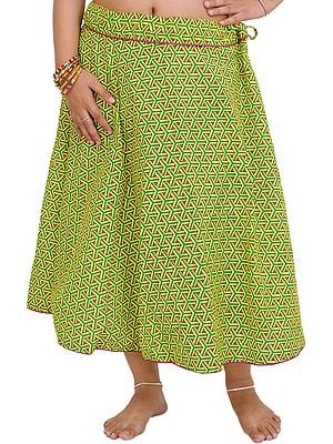 Drawstring Printed Midi Skirt with Piping