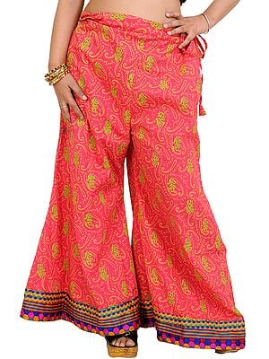 Palazzo Pants from Pilkhuwa with Printed Paisleys and Patch Border