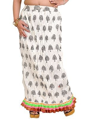 Snow-White Crushed Elastic Long Skirt with Printed Trees and Gota Border