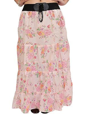 Long Skirt with Printed Roses and Elastic Waist