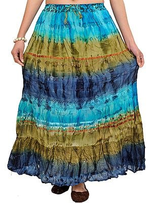 Batik-Dyed Tri-Colored Long Elastic Skirt