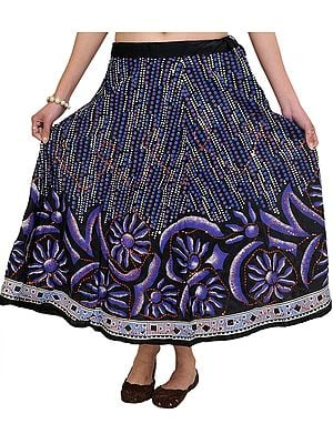 Caviar-Black Midi-Skirt with Printed Flowers and Sequins