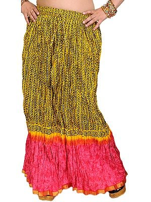 Yellow and Pink Printed Crushed Long Skirt with Gota Border