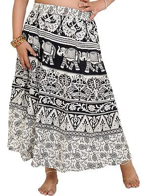 White and Black Sanganeri Midi Skirt with Printed Elephants and Peacocks