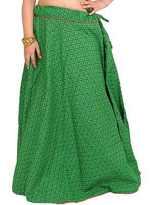 Bright-Green Drawstring Printed Long Ghagra Skirt with Piping