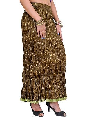 Gothic-Olive Crushed Elastic Long Skirt with Vegetable Dyes and Gota Border